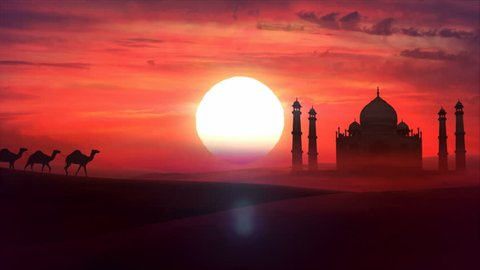 A camel train travels across a desert in the sunset. Sand dunes silhouettes, Taj Mahal and cloudy sunset in the background. Animation HD
