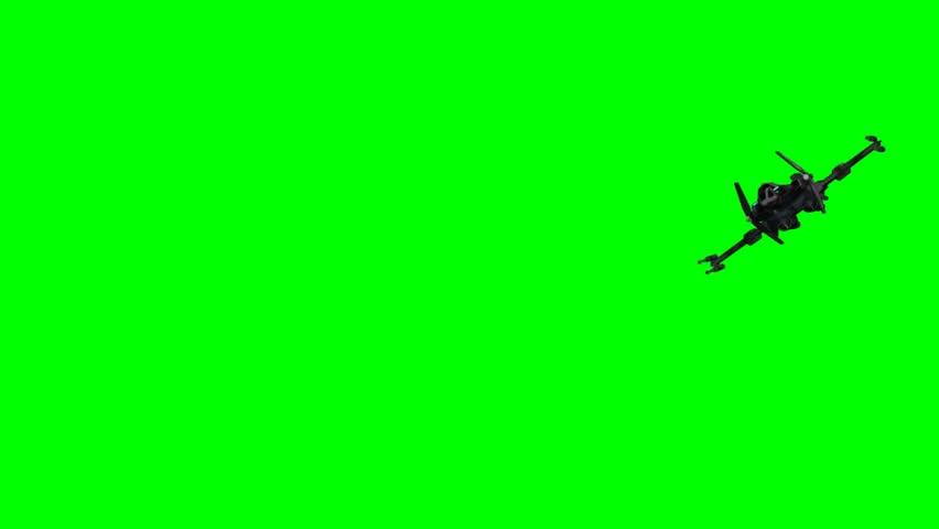 spaceship starfighter fly by - seperated on green screen