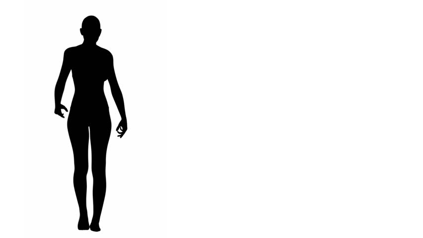 Silhouette of a woman walking - front view.  Silhouette of a woman walking seen from the front. Loops.