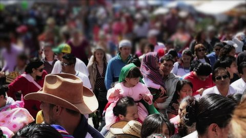 GUANAJUATO, MEXICO, 12 DE DICIEMBRE 2014: Procession of people going to a main church during the celebration of the Virgin of Guadalupe