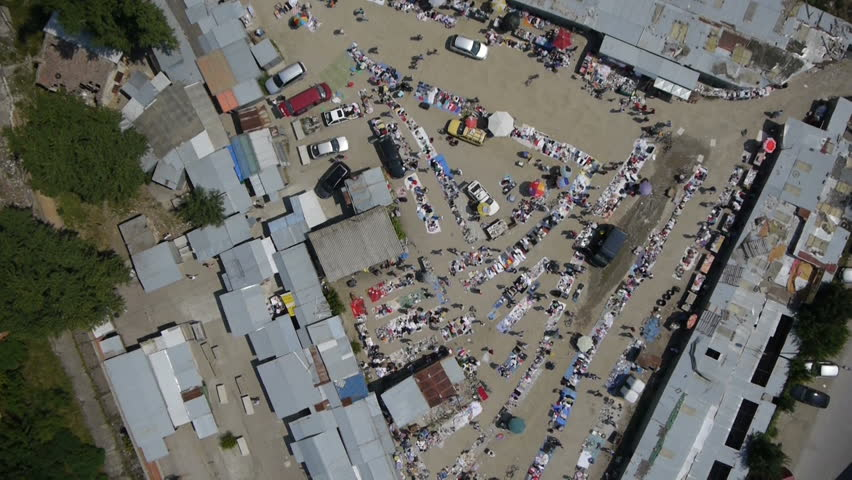 Aerial view of market place | Shutterstock HD Video #5459765
