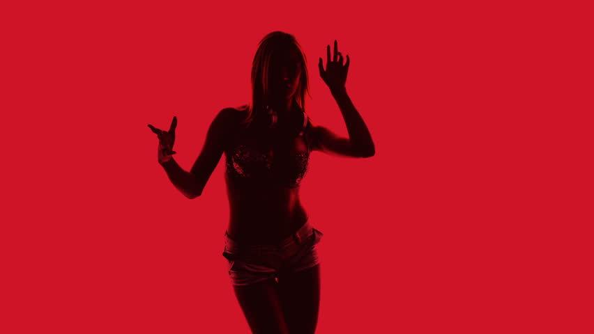 beautiful sexy disco dancer made into a shadow silhouette