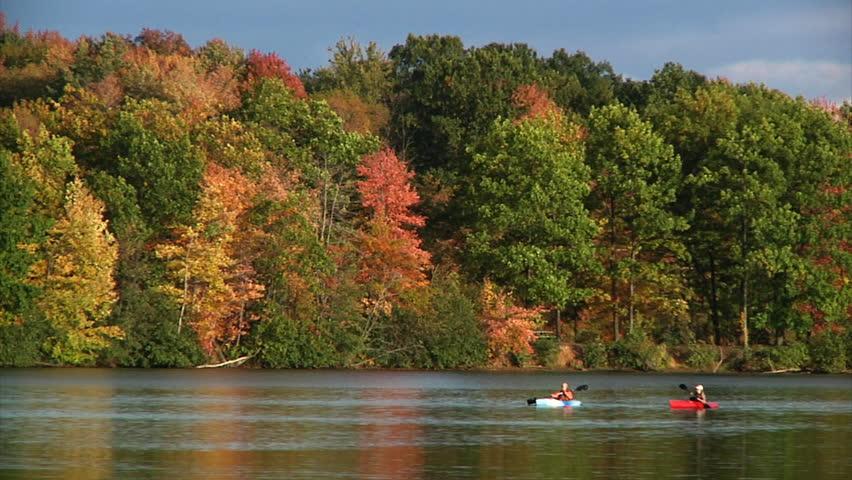 Kayakers on a lake.