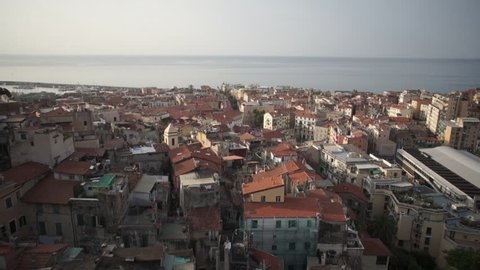 WS POV View of cityscape with sea in background in San Remo, Italy