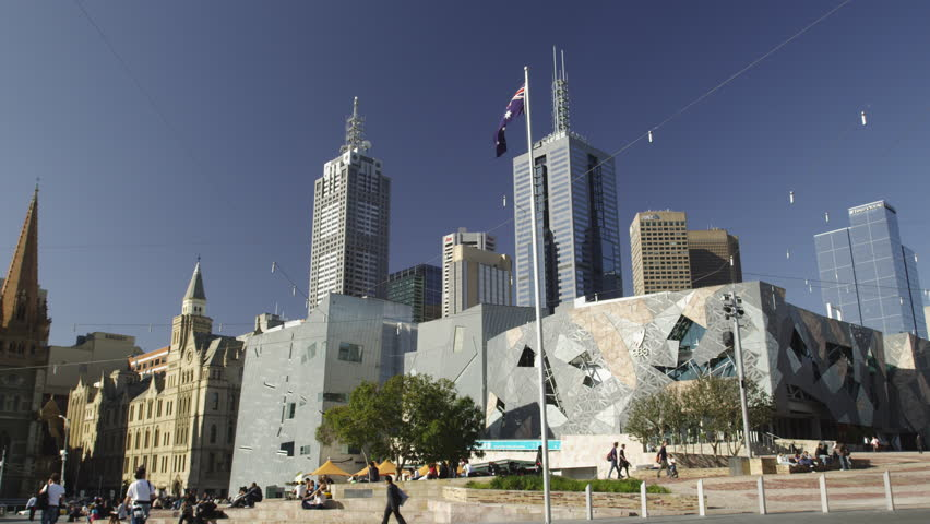 Federation Square with East Melbourne Skyline