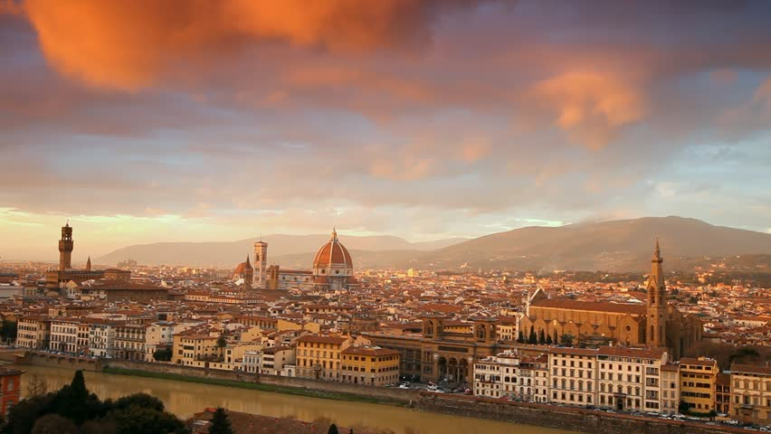 Sunset over Palazzo Vecchio and Cathedral of Santa Maria del Fiore. Florence, Italy