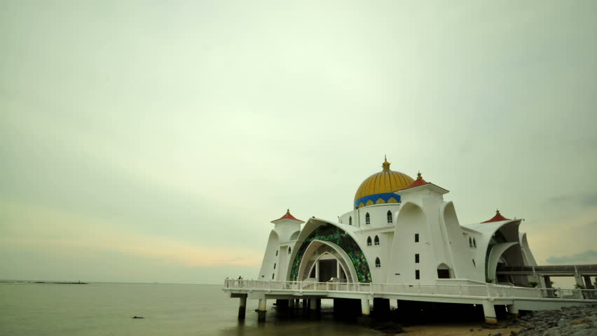 Timelapse over The Selat Melaka Mosque on September 21, 2009 at Malacca, Malaysia.