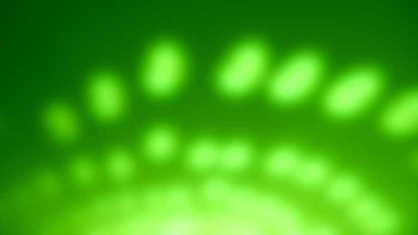 Green moving dots background with blurry lights