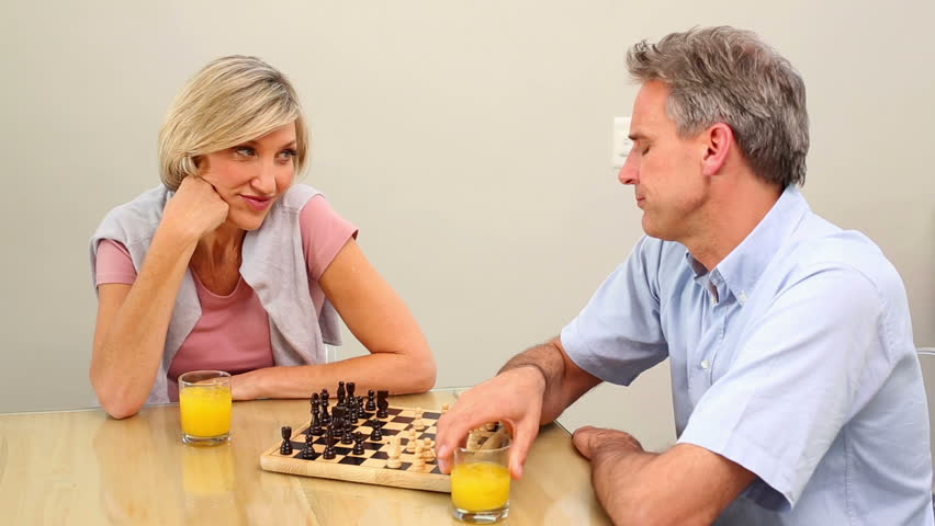 Mature couple playing