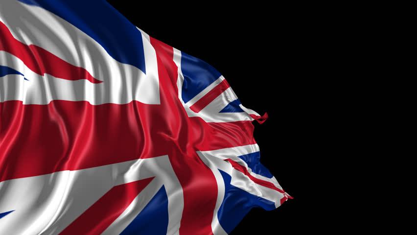 Flag of United Kingdom  Beautiful   3d animation of United Kingdom flag with alpha channel
