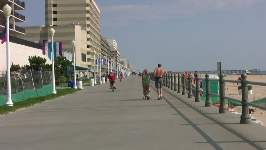 Boardwalk at Virginia Beach with walkers and joggers