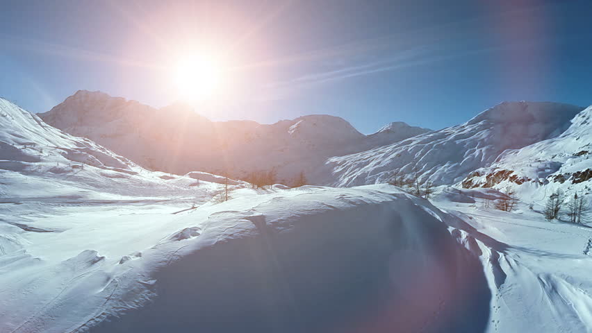 Winter snow landscape. aerial view fly over. majestic snow mountains. tourism resort nature | Shutterstock HD Video #5593946