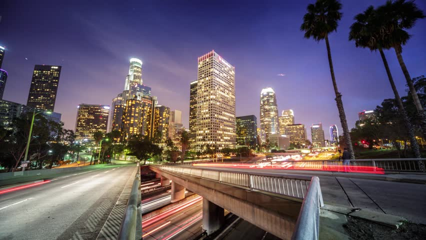 Downtown Los Angeles city traffic at night. 4K Timelapse. | Shutterstock HD Video #5612822