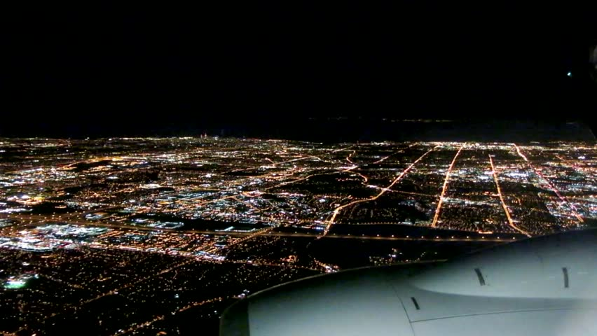Airplane Approach City at Night, Window Seat View