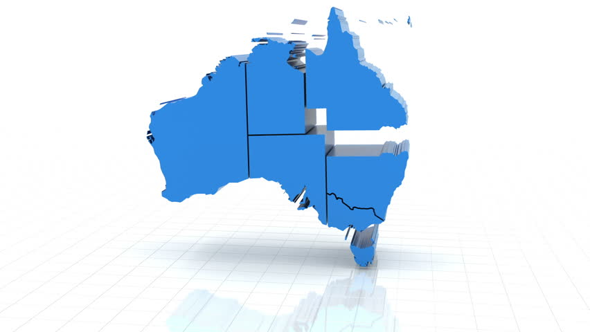 D Animation Of Australia Map Formed By Individual States Stock - Australia map hd