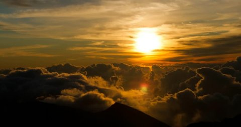Epic 4K sunrise with clouds formation at 10000ft