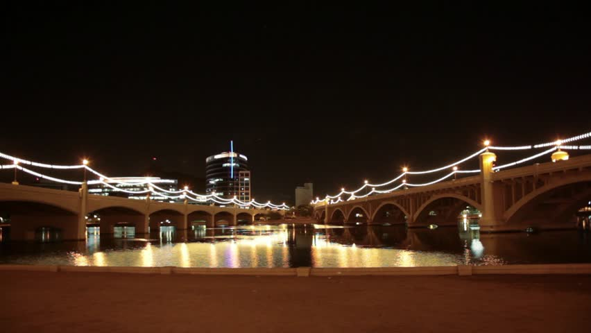 Tempe, Arizona - Mill Avenue Bridge at night.