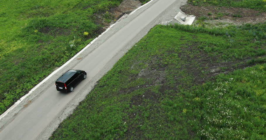 Aerial View. Car on a winding road in the hills. Altai Mountains, Siberia, Russia. Summer 2013 | Shutterstock HD Video #5656580