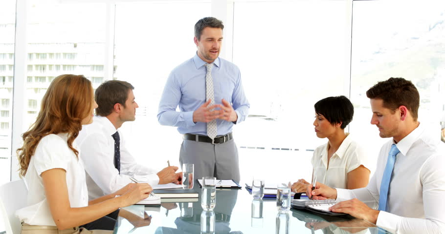the office the meeting. Businessman Receiving Praise From His Employees At Meeting In The Office Stock Footage Video 5658395 | Shutterstock R