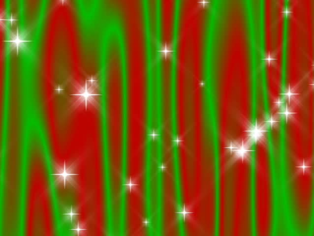 "480p Loop-Starry ""Curtain"" flowing in green and red with continuously falling and periodically shooting stars"