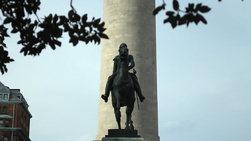 Baltimore, Maryland - March, 2013 - The Lafayette Monument, a bronze equestrian statue of Gilbert du Motier, marquis de Lafayette, located in the South Garden, at Mount Vernon Place, Baltimore.