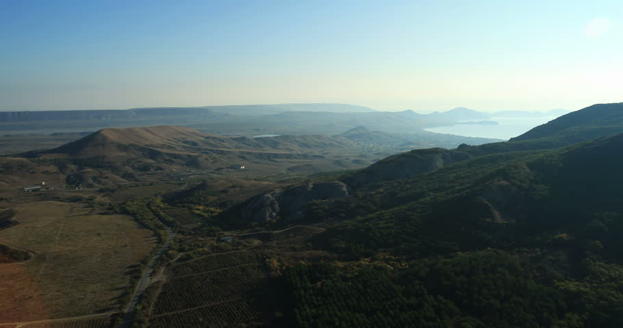 Aerial View: Kara Dag Mountain. Crimea, Ukraine. Summer 2013. Kara Dag is one of the most amazing wonders on the peninsula, the most beautiful and the most mysterious corner of southeastern Crimea.