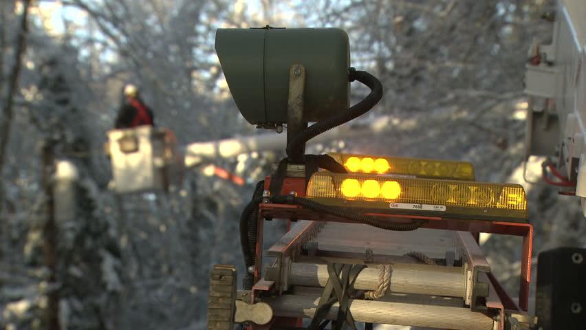 Power Line Repair in Winter  Power Line Repair in Winter Storm Aftermath