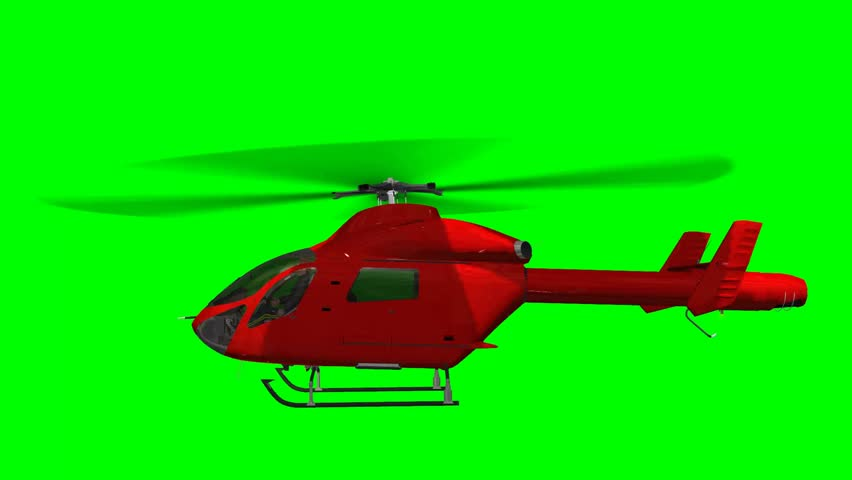 Helicopter in fly  - green screen