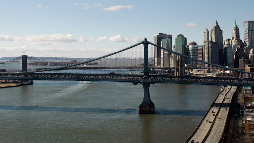 Manhattan Bridge And Brooklyn Bridge Stock Footage Video 100
