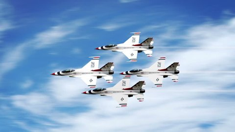 Thunderbirds F-16 Jets in famous diamond formation flyby.