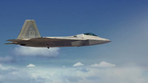 F-22 Stealth Raptor Fighter Jet Firing Missiles and Smart, Guided Bombs. Perfect for videos about: F-22, Stealth technology, F-22 Raptors, war, warfare, air force