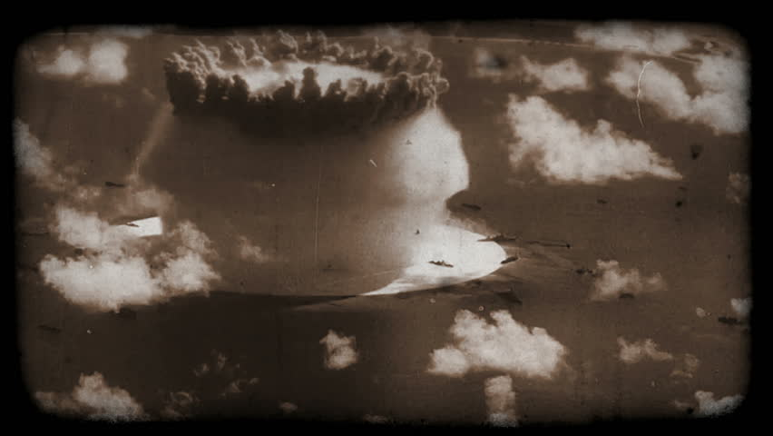 Nuclear (atomic) testing in the Pacific (old film style). Perfect for videos about: nuclear testing, atomic tests, atolls, radiation, cold war, thermonuclear testing, fallout, navy, war, bombs