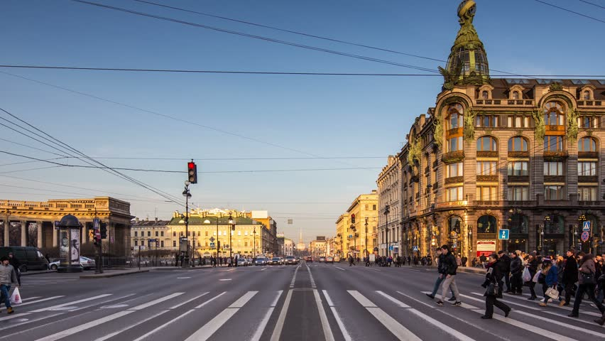 Saint-Petersburg, RUSSIA - Feb 27 2014, Timelapse 4k: Pedestrians and cars moving through Nevsky Prospect (Nevsky Avenue), on Feb 27, 2014 in Saint-Petersburg, Russia