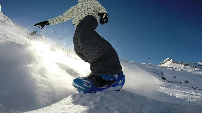 Snowboarder on track in alpine mountains pov | Shutterstock HD Video #5773004