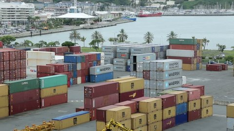 NOUMEA, GRANDE TERRE/NEW CALEDONIA - FEBRUARY 06, 2014: Pan of Noumea container port and harbour. Noumea is the main port for New Caledonia.