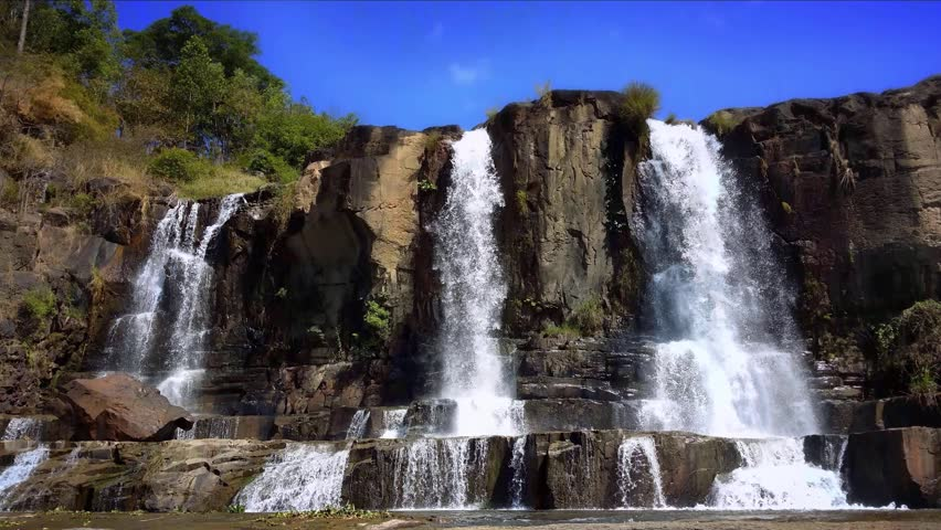 Pongour Falls waterfall in Dalat Vietnam. Scenic mountain river landscape 4K ultra high definition video footage