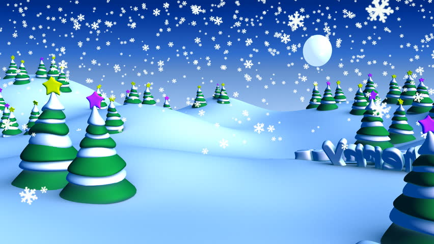 merry christmas in winter snow landscape