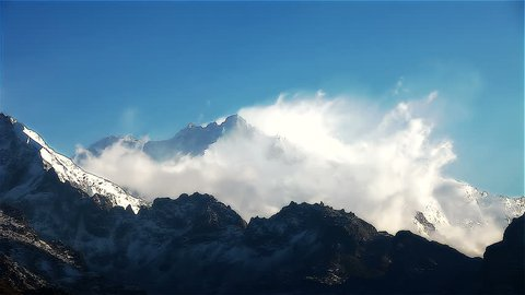 Timelapse, Kangchenjunga is the third highest mountain in the world. It rises with an elevation of 8,586 m : From Dzongri View Point, HD 1080P