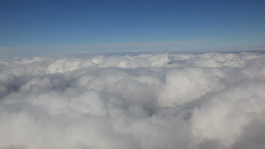 flight above clouds, Great background for movie credits or intro (1920x1080, 1080p, hd, hidef, high definition) Can be used as background texture for side window of airplane