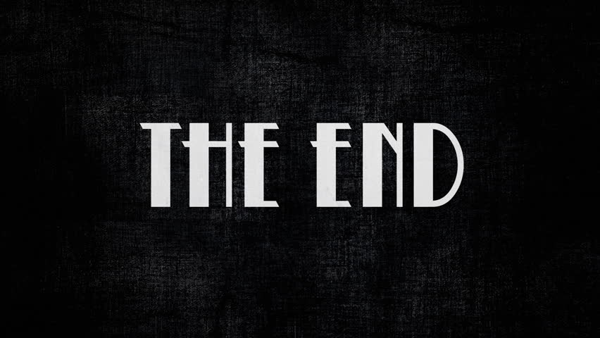 Animation of a retro vintage old fashioned end title as seen in 1920s silent movies. Hollywood-style font typography.