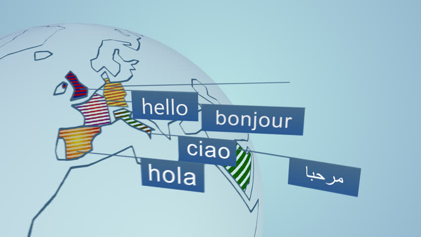 """Language learning concept with three dimensional words. """"Welcome"""" and many languages greetings. Colorful typography on bright background."""