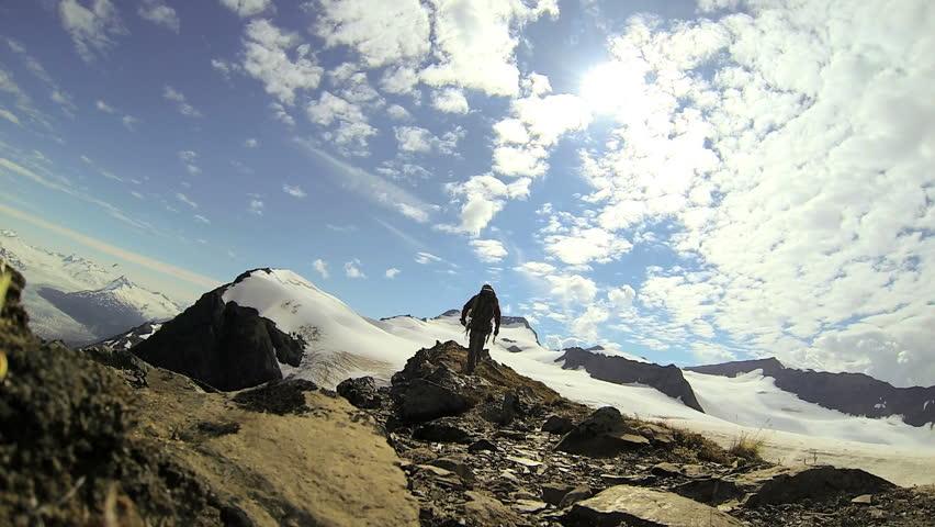 Self video Portrait Peak Mountain climber ridge walking Chugach Range of mountains nr Troublesome Glacier, State of Alaska, USA - Self video Portrait climber ridge walking, Alaska, USA