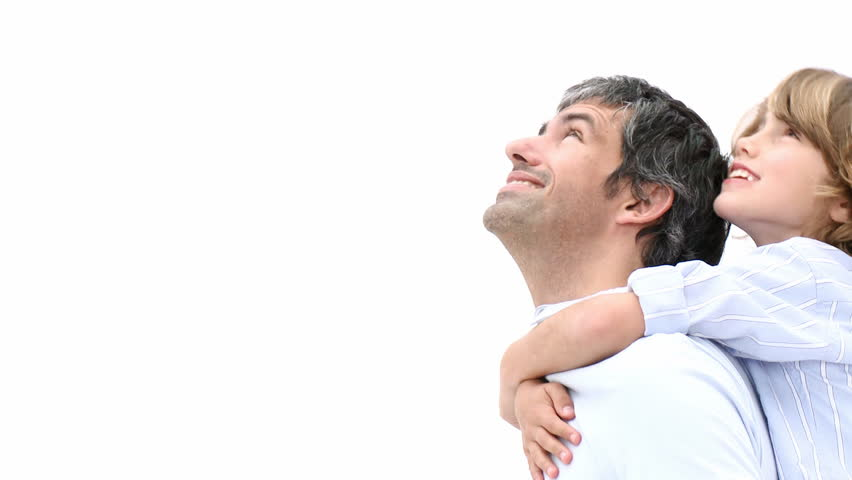 Close-up of father giving son piggyback ride. Footage in high definition