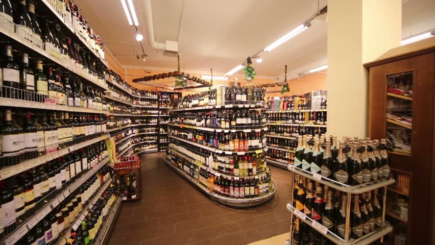 MOSCOW, RUSSIA - DEC 8, 2012: Section of wines in supermarket of home food Bahetle. Currently company Bahetle has 25 stores.