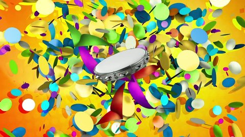 Tambourine tapping rhythm of carnival with a background of confetti and streamers.