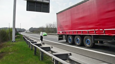 truck on german autobahn/ highway driving away - combined of three clips