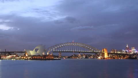 Time Lapse of Sydney Harbour #1. A distant time lapse shot of the Sydney Harbour Bridge at night. Sydney Australia.