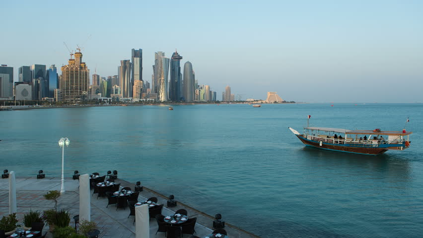 DOHA - CIRCA NOVEMBER 2013: WS T/L Arabian peninsula and west bay central finacial district / Doha, Qatar | Shutterstock HD Video #6056525