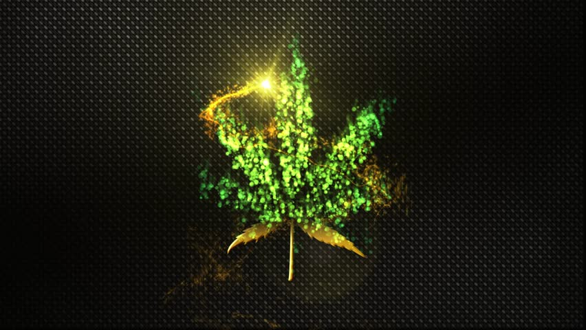 medical marijuana leaf symbol reveal animation