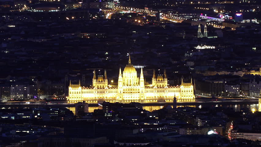 Budapest Hungary by Night Aerial View Timelapse | Shutterstock HD Video #6068945